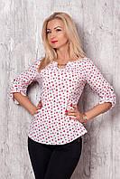 Блуза прямого кроя, с круглым вырезом