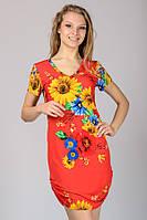 Красивое трикотажное платье с подсолнухами красное