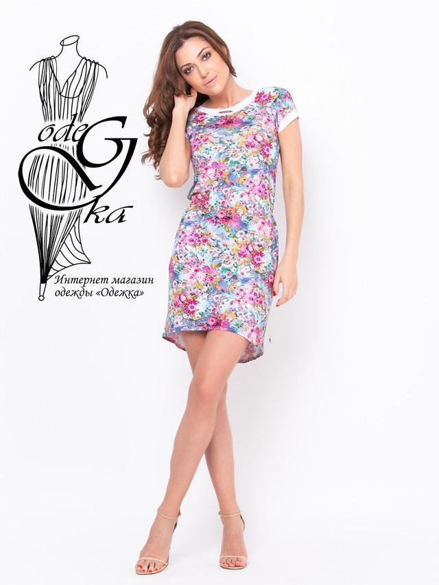 Фото-1 Летнее женского платья из вискозы с коротким рукавом в цветочек Дженифер