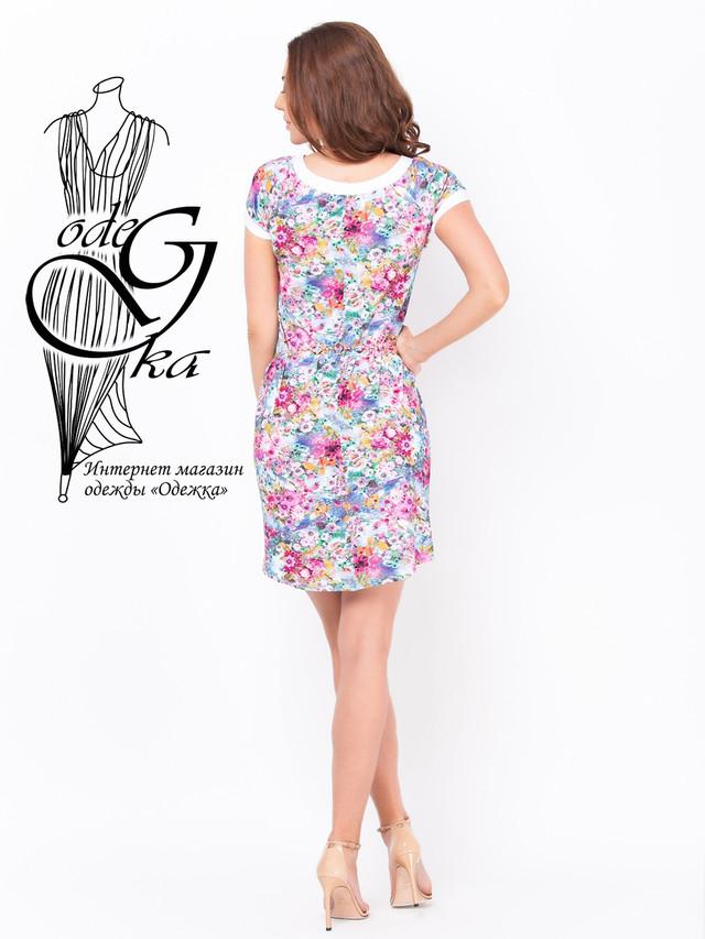 Фото-2 Летнее женского платья из вискозы с коротким рукавом в цветочек Дженифер
