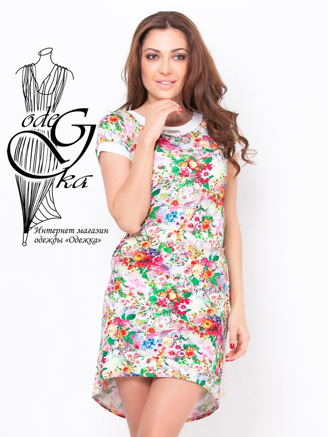 Подобные товары-1 Летнее женского платья из вискозы с коротким рукавом в цветочек Дженифер
