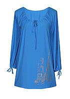Туника женская больших размеров в Украине с длинным рукавом из легкой летней ткани.