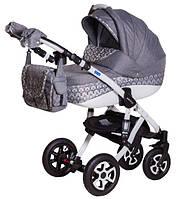 Детская универсальная коляска 2 в 1 ADAMEX Erika Len (Cерый квадрат-серый лен люриксом 346W)