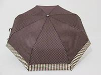 Женский зонт в горох с кантом клетки, механика, 3 сложения коричневый