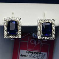 Ювелирные серебряные серьги с синим камнем крупного размера 2086