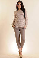 Женский костюм блуза в полоску и брюки | капучино (р.42-52)