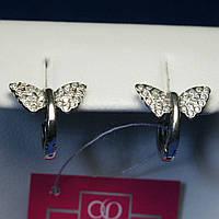 Детские серебряные серьги конго Бабочки с цирконами 2257