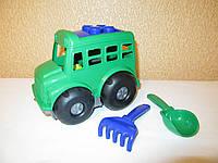 Автобус Бусик Colorplast для малышей от года + лопата, грабельки
