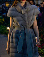 """Удлиненный жилет из меха норки с рукавом 1/4 и широким поясом """" Жозефина"""" длина 90см"""