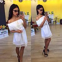 Молодежное летнее платье с открытыми плечами лен+кружево  Размеры. 42-46