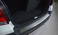 Накладка на задний бампер Chevrolet captiva (шевроле каптива), логотип, с загибом. нерж. 2013+