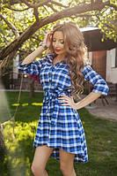 Котоновое платье рубашка в клетку с удлиненным задом