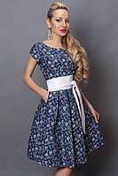 Модное платье Манго джинс  белый узор, р. 44-50