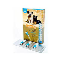 Advocate (Адвокат) капли для собак массой от 4 до 10 кг, от блох, клещей, глистов