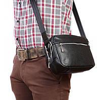 Мужская повседневная кожаная сумка через плечо, черная Alvi av-100black