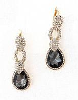 Серьги, стальной кристалл в сияющих камнях, английская застежка