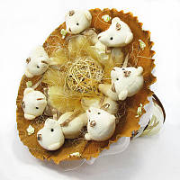 Букет из игрушек Мишки 7 бело-бежевый