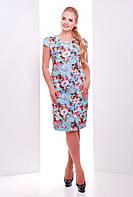 Платье из штапеля больших размеров Ирис голубое 54-60