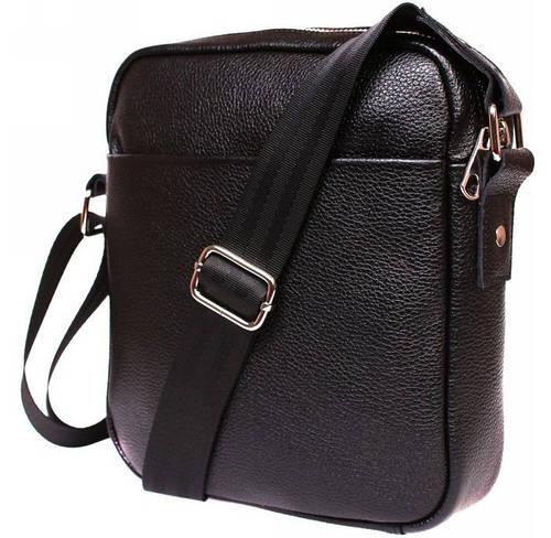 Компактная кожаная мужская сумка на плечо черного цвета Alvi av-91black