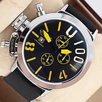 Мужские кварцевые наручные часы хронограф U-Boat Italo Fontana U-1001 на каучуковом ремешке