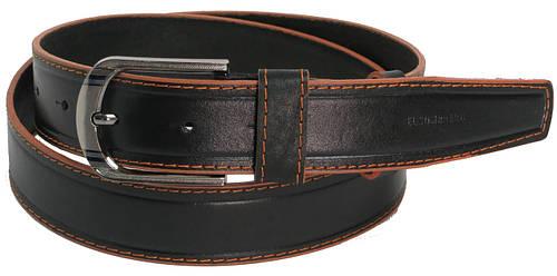 Ремень джинсовый мужской кожаный Skipper 5448 чёрный ДхШ: 124х4 см.