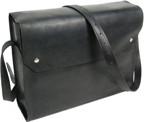 Сумка кожаная на плечо для мужчины Agruz 280516 черный Размеры: 38х29х10 см.