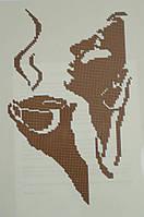 """Схема для вышивки бисером """"Девушка и кофе. Монохром"""""""