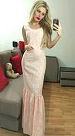 Стильное платье в пол с воланом ( 3 цвета) 1053