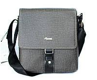 Мужская стильная сумка серая имитация ткани (E078)