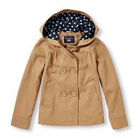 Двубортное школьное пальто с капюшоном 100% хлопок