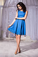 Модное синее платье юбка клёш, короткий рукав. Арт-5662/57