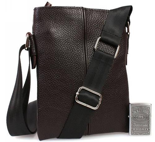 Мобильная сумка из натуральной кожи без клапана, коричневая Alvi av-97brown