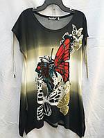 Летняя женская туника с коротким рукавом в бабочки
