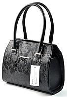 Женская кожаная сумка каркасная лаковая небольшая