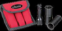 Набор головок для откручивания слизанных колёсных болтов, 3 предмета, VIGOR, V1378