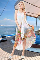 Легкое стильное шифоновое пляжное платье, цветной яркий принт, открытая спина РАЗНЫЕ ЦВЕТА!