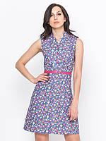 Модное летнее платье без рукавов с поясом р.44,46,48,50