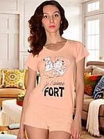 Пижама (футболка и шорты) (Персиковый)