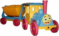 Игрушка Поезд-конструктор с 1 прицепом 013117 Фламинго-Тойс (голубой)