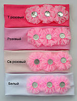 Детская Повязка на голову, трикотажная х/б. р. 40-46 (3-12 мес) Белый, св.розовый