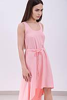 Нежное легкое летнее розовое платье ассиметричного кроя, со шлейфом