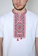 Белая мужская трикотажная футболка с красной вышивкой