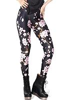 Леггинсы черные с розовыми цветами