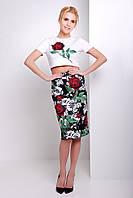 Топик и юбка карандаш | Костюм Айдана Винтажные розы