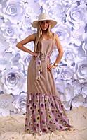 Платье  Макси  штапельное однотонное с шифоновой оборкой в цветах цвет бежевый