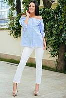 Летний брючный костюм: белые брюки + блузка в полоску. Разные цвета.