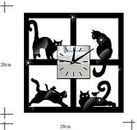 Настенные часы квадрат с кошками виниловые стикеры сделай сам много цветов diy