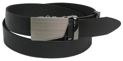 Брючный мужской кожаный ремень пряжка автомат FLX 3035 чёрный ДхШ: 121х3,5 см.