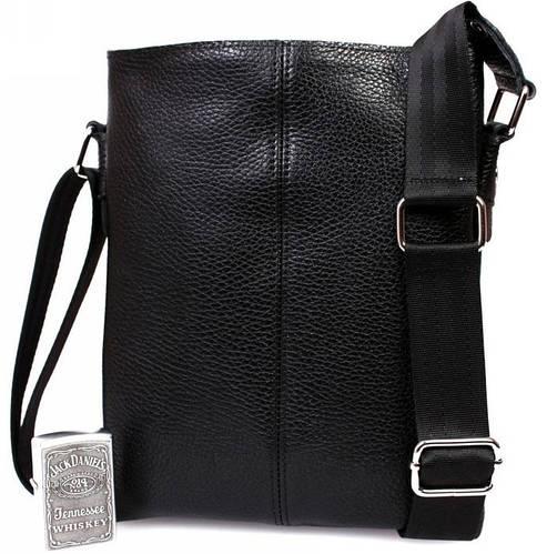 Удобная сумка из натуральной кожи для повседневного использования, черная Alvi av-104black