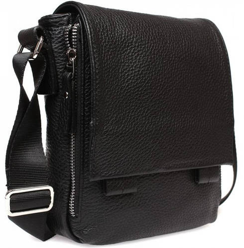 Дизайнерская кожаная мужская сумка вертикального типа, черная Alvi av-20-7533